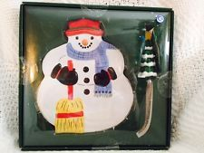 Pfaltzgraff Snow Village Christmas Cheese Plate and Knife Set NEW