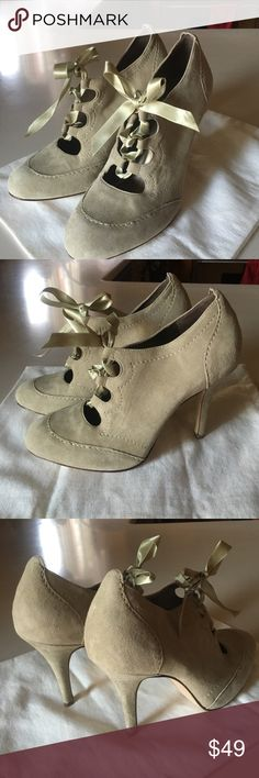"""Taupe suede ribbon close Talbots 4"""" heels - 8.5 A pretty taupe suede color with ribbon tie. Only tried on inside so showed the only wear on bottom of the heel, in otherwise perfect condition. I hate to even think about selling these but 4"""" heels are just too high for me. Beautiful shoes!!! Talbots Shoes Heels"""
