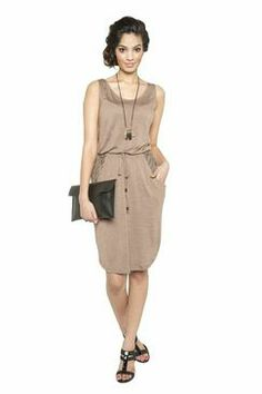 Love the style, length and fabric. Srey: Taupe + Black Braid Print Pocket Short Tank Dress #ravenandlilystyle