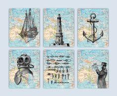 Nautical Art Sailor Knot Anchor Print Lighthouse poster
