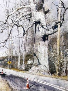 "Andrew Wyeth ""Walking Stick"" 2002 I cant even begin to count the times I have driven by or hiked by this tree! Jamie Wyeth, Andrew Wyeth Paintings, Andrew Wyeth Art, Watercolor Trees, Watercolor Landscape, Landscape Paintings, Landscapes, Jolie Photo, Tree Art"