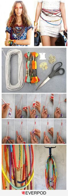 How-to: Tribal Necklace by Ari of Boat People - DIY: Interesting Easy Craft Ideas – Fashion Diva Design Kind of like this but that looks like eas - Fashion Diva Design, Diy Accessoires, Boho Diy, Diy Schmuck, Diy Necklace, Diy Bracelet, Tribal Necklace, Necklace Tutorial, Bohemian Necklace