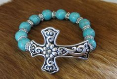 COWGIRL Bling BRACELET CROSS TURQUOISE beads stretch Silver GYPSY WESTERN OUR PRICES ARE WAY BELOW RETAIL! ALL JEWELRY SHIPS FREE! baha ranch western wear www.baharanchwesternwear.com ebay seller id soloedition