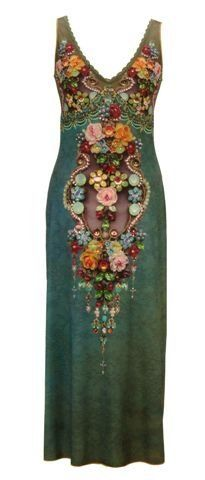 Amazon.com: Michal Negrin Sleeveless V-Neck Empire Dress Made of Printed Lycra, Embellished with Swarovski Crystals and Flower Pattern; Handmade in Israel: Clothing