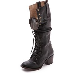 FREEBIRD by Steven Granny Tall Combat Boots ($175) ❤ liked on Polyvore featuring shoes, boots, botas, footwear, black, tall boots, black booties, black military boots, black leather boots and black leather booties