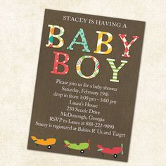 baby boy shower invitation with airplanes by katiedidesigns---really like this one