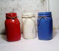 Hand Painted Mason Jars  4th of July Theme by AHigherRePurpose, $18.00