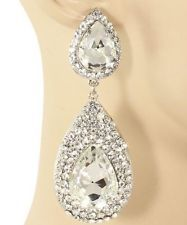 3 5 Long Drop White Silver Clear Rhinestone Crystal Wedding Pageant Earrings