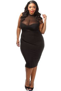 Plus Size Mesh Top Solid Midi Dress