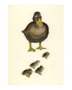 Duck art bird art Mumma Duck-  4 X 6 print