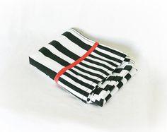Vintage 80s Flat Sheet Black White Red Striped at PaddywhackKnickKnack, $20.00