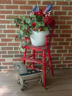 plant on red high chair