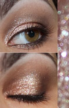 Sparkly eye makeup, pretty makeup, makeup looks, sparkly eyeshadow, gold we Pretty Makeup, Love Makeup, Makeup Tips, Makeup Looks, Makeup Ideas, Gold Eye Makeup, Kiss Makeup, Hair Makeup, Prom Makeup