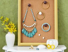 Display and sort jewelry with a framed cork board. #accessories