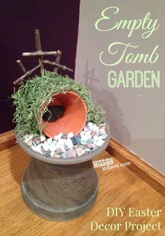 Make an Empty Tomb Garden. This DIY Easter decor project is perfect for remembering the reason for the season. decorations christian The Empty Tomb Garden Diy Craft Projects, Easter Projects, Easter Crafts, Diy Crafts, Easter Ideas, Easter Art, Hoppy Easter, Xmas Crafts, Easter Eggs