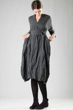 long washed and creased wool crêpe dress - DANIELA GREGIS