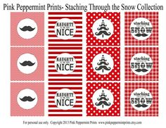 NEW INSTANT DOWNLOAD The Staching Through by pinkpeppermintprints, $6.50 Mustache Christmas party tags