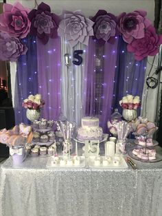 Quinceanera Party Planning – 5 Secrets For Having The Best Mexican Birthday Party Purple Party Decorations, Quinceanera Decorations, Quinceanera Party, Birthday Decorations, Wedding Decorations, Purple Birthday, 50th Birthday Party, Baby Shower Purple, Purple Themes