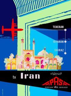 Teheran-Shiraz-Iran-Persia-Persian-Arabian-Vintage-Travel-Advertisement-Poster