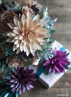 DIY: paper dahlias and seeded eucalyptus