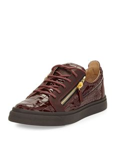 Giuseppe Zanotti Men's Croc-Embossed Low-Top Sneaker, Burgundy