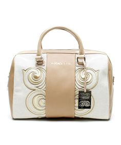 Another great find on #zulily! White & Gold Swirl Convertible Leather Satchel by Versace Jeans Collection #zulilyfinds