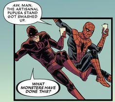 Spidey & Daredevil in redDeadpool vs. Gambit #1 (2016) - Danilo Beyruth & Cris Peter