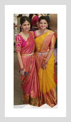 Green saree with pink border Silk Saree Kanchipuram, Chanderi Silk Saree, Silk Sarees, Indian Sarees, Bridal Blouse Designs, Saree Blouse Designs, Sari Blouse, Bridal Silk Saree, Saree Wedding