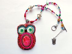 Bead embroidery owl with lass eyes pink red by mysweetcrochet, $80.00