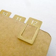 Brass Number Clips/number templates (set of 12), Midori Travelers Notebook accessory| Bookbinders Online