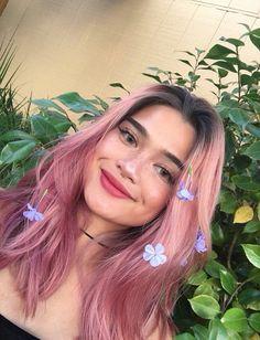 cabelo rosa raiz esfumada