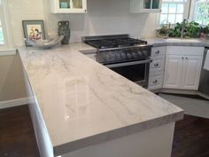Image result for marble quartz white cabinets