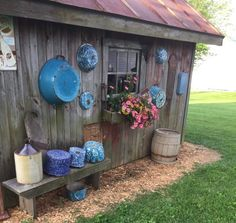 enamelware,  window box and bench