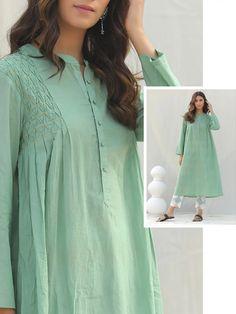 Buy Mint Green Cotton Kurta with Pants - Set of 2 online at Theloom Stylish Dresses For Girls, Stylish Dress Designs, Dress Neck Designs, Designs For Dresses, Stylish Kurtis Design, Tunic Designs, Simple Pakistani Dresses, Pakistani Fashion Casual, Pakistani Dress Design