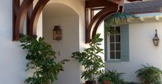 Wooden Awning (British West Indies style by Village Architects)/idea for how to frame awning over sliding door but paint white and use galvanized r… | Pinteres…