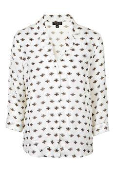 Bee Print Pyjama Style Shirt - Tops - Clothing - Topshop