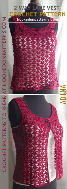 Lace Vest Crochet Pattern - This is a great summer time top that can be worn both ways - a 2 way top crochet pattern. It is a lace cardigan crochet pattern and a lace vest crochet pattern!
