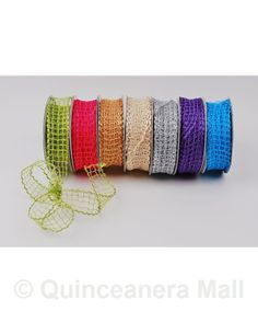 "Quinceanera Mall - 1"" Wired Mesh Ribbon #RIB25"