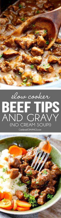"""EASY, Wonderfully tender, Homemade Slow Cooker Beef Tips and Gravy (without any """"cream of"""" anything!) is richly satisfying, comforting and flavorful and the perfect make ahead meal for busy weeknights! I also love serving it for special occasions or holidays because it is so easy, make ahead and super easy to double or triple the recipe!"""