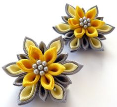 Kanzashi Fabric Flowers. Set of 2 hair clips. Yellow and grey.. $13.50, via Etsy.