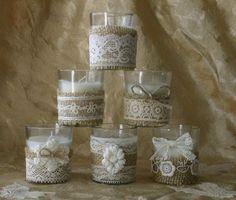 Burlap and lace wedding votives, Wedding tea candles, Ivory lace wedding votives. $25.00, via Etsy.
