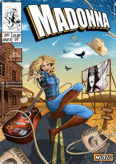 Gay artist Liam Alexander recasts Madonna, Bjork and Kate Bush as heroes from comic books, one album incredible cover at a time. Madonna Albums, Madonna Music, Madonna Art, Comic Book Covers, Comic Books, Divas Pop, Album Design, A Comics, Madonna 80s