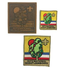 Vintage 1973 Boy Scouts of America BSA National Scout Jamboree Patches Leather 3 Cub Scouts, Girl Scouts, Boy Scout Sash, Boy Scout Badges, Boy Scout Patches, Scouts Of America, Scout Camping, Vintage Boys, Girl Guides