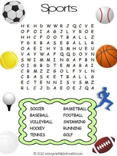 Heres A Fun Easy Kids Word Search For Young Sports Lovers Out There Description Of The This Is Basic