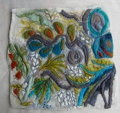 Continuing with my exhibition work in my usual bungling style I began stitching on this piece of felt I put together at the felt group....