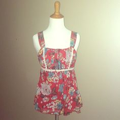Red Floral Loose Fitting Tank Small baby doll fit Sheer back. Lined front.  Drawstring back First kiss Tops Tank Tops