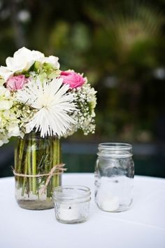 LOVE mason jars used for flowers and candles by Lammy