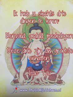 Ik heb u slechts drie dingen te leren:   Eenvoud, geduld, mededogen.  Deze drie zijn uw grootste schatten.  Lao Tzu