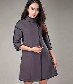 2016 Wool & Blends Women Coat Wide-Waisted Single Breasted Three Quarter…