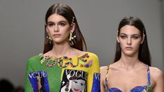 At Versace's Spring 2018 show, which honored the 20th anniversary of Gianni Versace's death, hair accessories in his beloved gold hue dominated the runway.